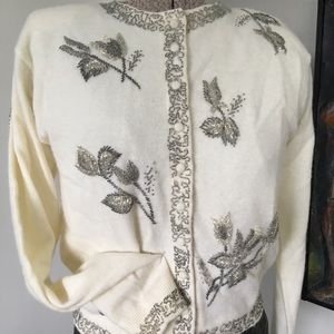 BEN CONRAD VINTAGE Wool Beaded Cardigan